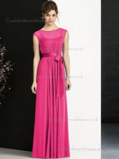 Romantica Red Floor-length Chiffon Rose Sash Bridesmaid Dresses