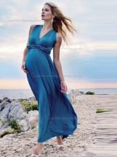 Budget Blue Belt Chiffon Floor-length Bridesmaid Dresses