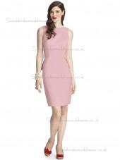 Cheap Celebrity Satin Knee-length Pink Bridesmaid Dresses