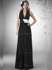 Fitted Amazing Floor-length Black Hand Made Flower Chiffon Bridesmaid Dresses