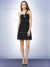 Budget Best Mini Beading Black Chiffon Bridesmaid Dresses
