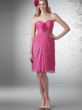 Cheap Best Pink Knee-length Hand Made Flower Chiffon Bridesmaid Dresses