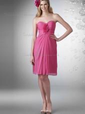 Cheap Best Pink Knee-length Hand Made Flower Chiffon Bridesmaid Dresses