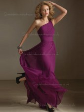 Cheap Fuchsia Draped Chiffon Floor-length Bridesmaid Dresses