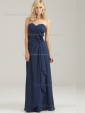 Cheap Dark Navy Hand Made Flower Chiffon Floor-length Bridesmaid Dresses