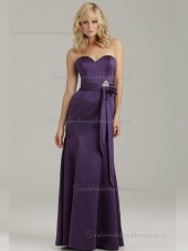 Fitted Celebrity Regency Floor-length Beading Bow Satin Bridesmaid Dresses
