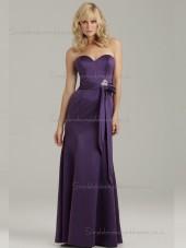 Fitted Celebrity Regency Floor-length Beading Bow Satin Bridesmaid Dresses