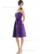 Elegant Discount Hand Made Flower Regency Short-length Satin Bridesmaid Dresses