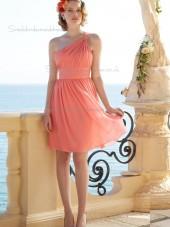 Discount Chiffon Short-length Draped Pink Bridesmaid Dresses