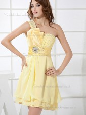 Online Daffodil Chiffon Beading Short-length Bridesmaid Dresses