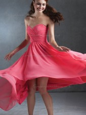 UK Chiffon Ruffles Sweep Watermelon Bridesmaid Dresses