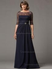 Budget Celebrity Chiffon Lace Dark Navy Floor-length Bridesmaid Dresses
