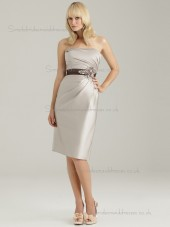 Beautiful Amazing Belt Champagne Satin Short-length Bridesmaid Dresses