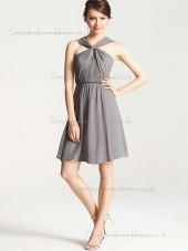 Vintage Girls Short-length Gray Chiffon Draped Bridesmaid Dresses