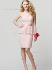 Amazing Belt Short-length Chiffon Lace Pink Bridesmaid Dresses