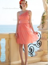 Beautiful Romantica Short-length Watermelon Chiffon Draped Bridesmaid Dresses