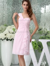 UK Stunning Chiffon Pink Ruffles Short-length Bridesmaid Dresses