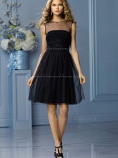 Vintage Romantica tulle Draped Black Short-length Bridesmaid Dresses
