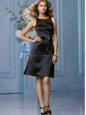 Elegant Stunning Satin Black Belt Short-length Bridesmaid Dresses