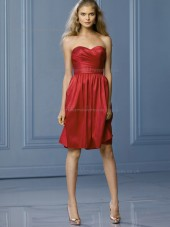 Elegant Romantica Short-length Ruby Satin Draped Bridesmaid Dresses