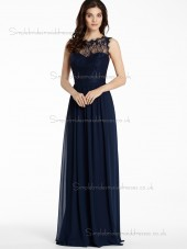 Elegant Lace Dark Navy Floor-length Chiffon Bridesmaid Dresses