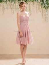 Fitted Amazing Pink Short-length Draped Chiffon Bridesmaid Dresses