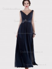 Budget Floor-length Dark Navy Chiffon Belt Bridesmaid Dresses