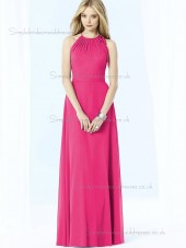 UK Best Floor-length Chiffon Hot Pink Bridesmaid Dresses