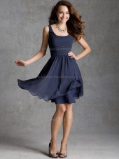 Fitted Short-length Dark Navy Chiffon Tiered Bridesmaid Dresses