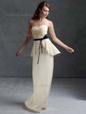 Beautiful Best Belt Chiffon Floor-length Champagne Bridesmaid Dresses