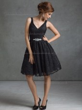 Fitted Girls Belt Lace Short-length Black Bridesmaid Dresses