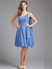 Beautiful Girls Short-length Beading Chiffon Light Sky Blue Bridesmaid Dresses