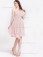 Budget Discount Draped Chiffon Short-length Pink Bridesmaid Dresses