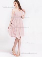 Budget Discount Draped Chiffon Short-length Pink Bridesmaid Dresses