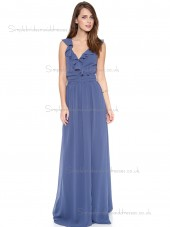 Fitted Discount Floor-length Chiffon Blue Bridesmaid Dresses