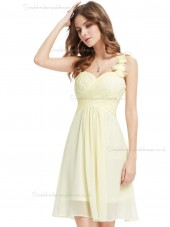 Budget Romantica Champagne Chiffon Sweetheart A-line Short-length Ruffles Hand Made Flower Empire Bridesmaid Dress