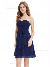 Vintage Royal Blue Chiffon Sweetheart A-line Short-length Ruffles Empire Bridesmaid Dress