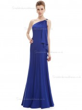 Cheap Girls Royal Blue Chiffon One Shoulder A-line Floor-length Beading Natural Bridesmaid Dress