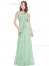 UK Stunning Green Chiffon Bateau A-line Floor-length Lace Empire Bridesmaid Dress