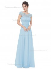 Cheap Discount Light Sky Blue Chiffon Bateau A-line Floor-length Lace Empire Bridesmaid Dress