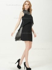 Vintage Best Black Chiffon Column Sheath Mini Beading Empire Bridesmaid Dress