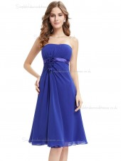 Fitted Royal Blue Chiffon Bateau A-line Mini Hand Made Flower Empire Bridesmaid Dress