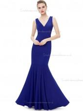 Vintage Amazing Royal Blue Satin V-neck Mermaid Floor-length Natural Bridesmaid Dress
