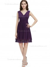 Budget Amazing Grape Chiffon V-neck A-line Knee-length Lace Empire Bridesmaid Dress