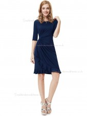 UK Stunning Dark Navy Chiffon Bateau A-line Knee-length Ruffles Empire Bridesmaid Dress
