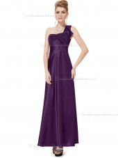 Beautiful Amazing Grape Satin One Shoulder A-line Floor-length Ruffles Empire Bridesmaid Dress