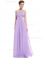Cheap Lilac Chiffon One Shoulder A-line Floor-length Ruffles Empire Bridesmaid Dress