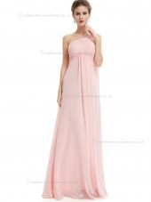 Designer Pink Chiffon One Shoulder A-line Floor-length Ruffles Empire Bridesmaid Dress
