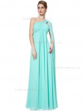 Elegant Pool Chiffon One Shoulder A-line Floor-length Ruffles Empire Bridesmaid Dress