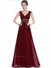 Online Best Burgundy Chiffon V-neck A-line Floor-length Beading Sash Empire Bridesmaid Dress